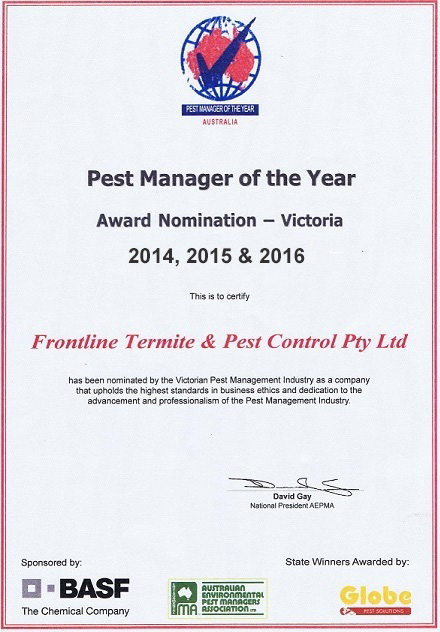 Pest Manager of the Year Award Nomination - Victoria